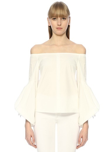 Jovonna Kayık Yaka İspanyol Kol Gömlek Beyaz